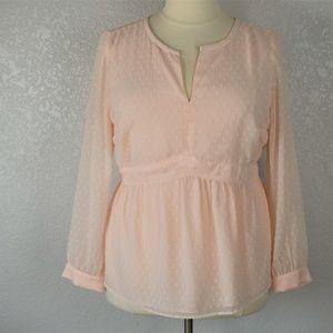 LOFT Fully Lined Peplum Blush Pink Blouse sz 18